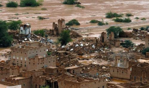 منطقة عديد في تريم حضرموت مدمرة بالكامل بعد السيول كان تسونامي مر من هناك