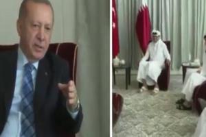 بالفيديو: أردوغان يحرج وزير خارجية قطر ويأمره بتعديل جلسته أمامه