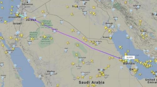 """طائرة اسرائيلية تعبر الأجواء السعودية إلى المنامة ووزير الخارجية البحريني بعلق """"أهلا وسهلا"""""""