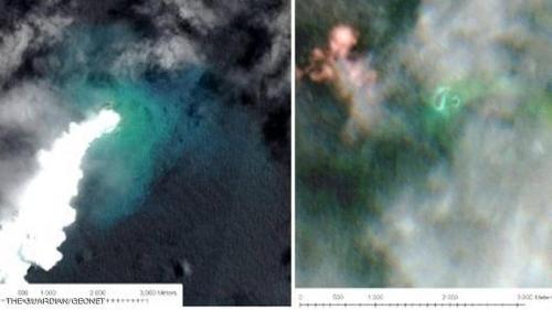 بركان يتسبب بإغراق جزيرة وظهور أخرى أكبر