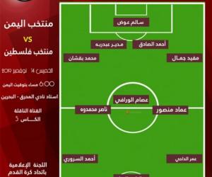 شاهد تشكيلة منتخبنا الوطني امام فلسطين