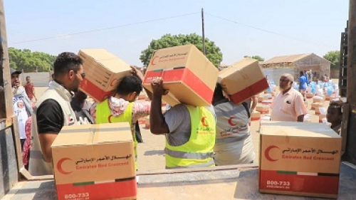 218 طن دعم إماراتي جديد خلال نصف شهر  في مناطق شرق اليمن وغربة