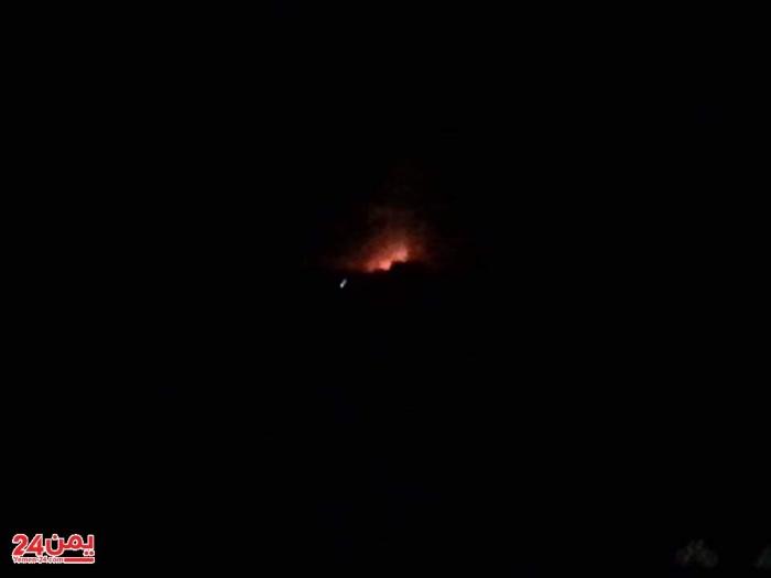 شاهد صورة حصرية لقصف طيران التحالف بالعاصمة صنعاء فجر اليوم ( اسماء المواقع المستهدفة )