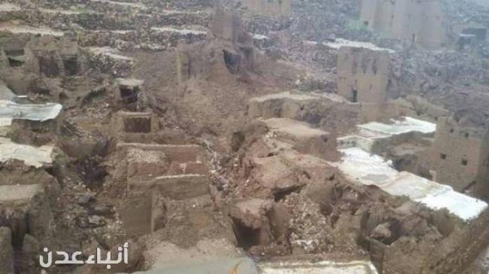 شاهد بلدة شخاوي الحضرمية التي دمرها إعصار لبان وشرد سكانها .. والحكومة غائبة
